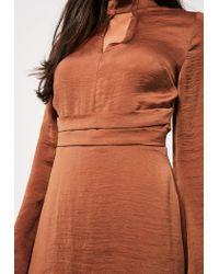 Missguided Blue Belted Plunge Choker Neck Dress Bronze