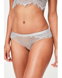 Missguided - Gray Grey Lace Knickers - Lyst