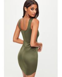 Missguided - Green Khaki Scuba Square Neck Bodycon Dress - Lyst