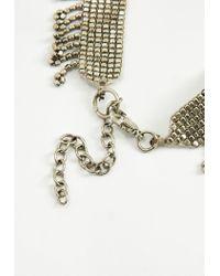 Missguided - Metallic Silver Beaded Drop Tassel Choker Necklace - Lyst