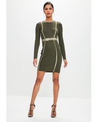 Missguided - Green Khaki Studded Detail Bodycon Dress - Lyst