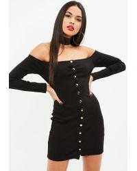 Missguided - Black Long Sleeve Popper Mini Dress - Lyst