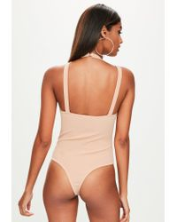 Missguided - Natural Nude Harness Strap Bodysuit - Lyst