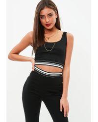 e335a8ef22ba2 Missguided Petite Black Striped Trim Crop Top in Black - Lyst