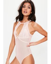 Missguided - Natural Nude Keyhole Detail Mesh Bodysuit - Lyst