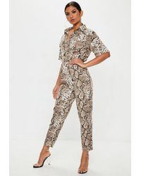 939e72c4b6b Missguided Brown Snake Print Shirt Jumpsuit in Brown - Lyst