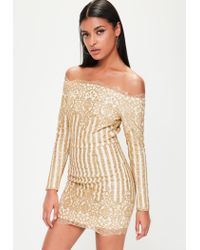 4c9bf80f56 Lyst - Missguided Gold Sequin Bardot Dress in Metallic