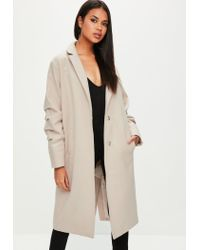 479f5f0c76aab4 Lyst - Missguided Nude Ruched Sleeve Longline Coat in Natural