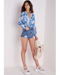 Missguided - Printed Wrap Long Sleeve Blouse Blue - Lyst