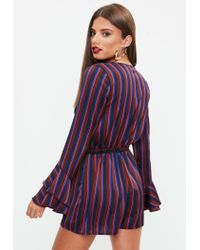 Missguided - Purple Burgundy Stripe Flare Sleeve Drawstring Playsuit - Lyst