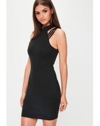 Missguided - Black High Neck Multi Strap Bodycon Dress - Lyst