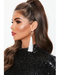 Missguided - Metallic Silver Look Diamante Round Top Tassel Earrings - Lyst