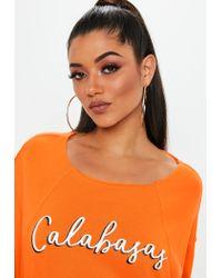 Missguided - Orange Calabasas Cropped Sweatshirt - Lyst