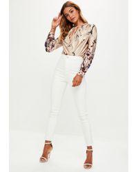 Missguided - Metallic Gold Oriental Print Tie Front Bodysuit - Lyst