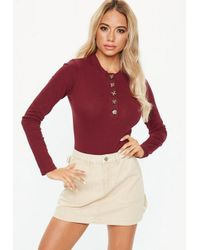 a7a39a862b Missguided Burgundy Horn Button Long Sleeve High Neck Bodysuit in ...
