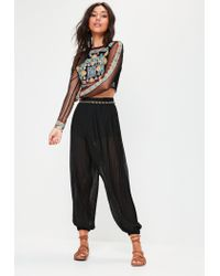 Missguided Black Mesh Sleeve Embroidered Crop Top