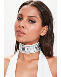 Missguided - Metallic Peace + Love Silver Embellished Choker - Lyst
