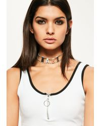 Missguided - Metallic Silver Diamante Babe Slogan Choker Necklace - Lyst