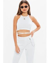 c61b6f0e9f3 Missguided Petite White Wrap Crop Top in White - Lyst