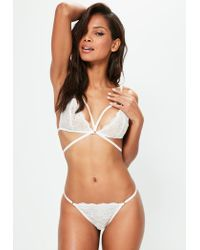 Missguided | Metallic Gold Ring Lace Thong White | Lyst