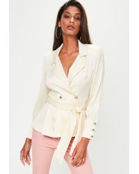 Missguided - White Extreme Shoulder Tie Waist Blazer - Lyst