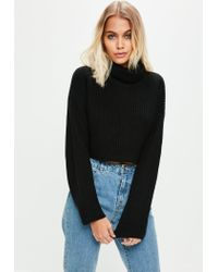 468e2f8382 Lyst - Missguided Black Roll Neck Knitted Crop Jumper in Black