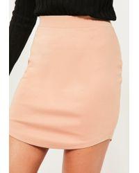 Missguided - Natural Nude Ponte Curve Hem Mini Skirt - Lyst