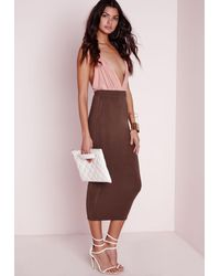 Missguided - Longline Jersey Midi Skirt Chocolate Brown - Lyst