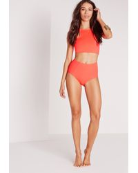 Missguided - Red Square High Neck Bikini Top Coral - Mix & Match - Lyst