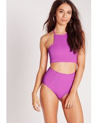 Missguided - High Square Neck Bikini Top Purple - Mix & Match - Lyst