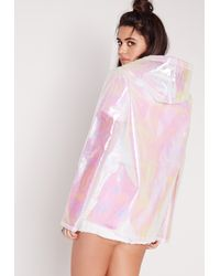 Missguided - Petite Holographic Raincoat White - Lyst