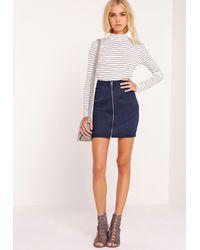 Missguided - Blue Zip Through Denim Mini Skirt Indigo - Lyst