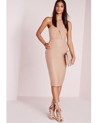 Missguided | Natural Faux Leather Cross Over Midi Dress Nude | Lyst