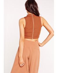 Missguided - Zip Detail Crop Top Orange - Lyst