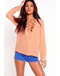 Missguided - Natural Scallop Lattice Blouse Nude - Lyst
