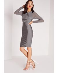 Missguided - Gray Premium Long Sleeve Bandage Bodycon Dress Grey - Lyst