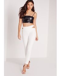 Missguided - Cut Out Waist Cigarette Pants White - Lyst