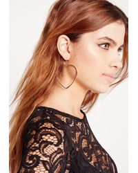 Missguided - Metallic Heart Shape Hooped Earrings Gold - Lyst