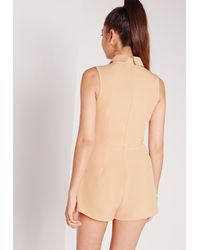 Missguided - Natural Crepe Collared Sleeveless Playsuit Nude - Lyst