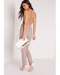 Missguided - Natural Crepe Back Strap Detail Jumpsuit Nude - Lyst