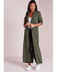 Missguided | Natural Long Sleeve Maxi Duster Jacket Khaki | Lyst