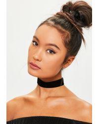 Missguided | Velvet Choker Necklace Black | Lyst