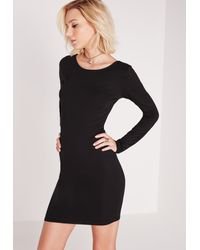 Missguided - Long Sleeve Criss Cross Back Bodycon Dress Black - Lyst