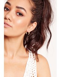 Missguided | Metallic Moon Stud Earrings Gold | Lyst