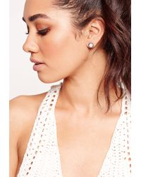 Missguided - Metallic Three Pack Stud Earrings Silver - Lyst