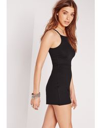 Missguided - Ribbed 90's Neck Playsuit Black - Lyst