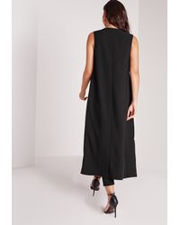 Missguided - Sleeveless Maxi Duster Coat Black - Lyst