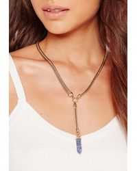 Missguided - Metallic Marble Stone Necklace Gold - Lyst