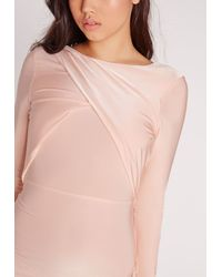Missguided Natural Slinky Long Sleeve Low Back Maxi Dress Champagne