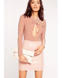 Missguided - Slinky Twist Front Long Sleeve Bodysuit Pink - Lyst
